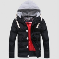 2014 New Winter Free shipping Leisure Warm Pure color Soft Fashion Hood Zipper Embellished Color Block Coat
