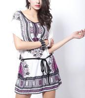 O- neck bat sleeve summer dress, pagoda pattern print dress, 2015 spring new lace dress + Belt