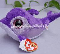 "IN HAND!  NEW TY BEANIES BOOS ORIGINAL PLUSH  Glitter eyes~Flips The Purple Dolphin~ ~ 6"" 15CM plush big eyes doll Stuffed TOY"