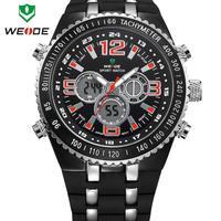 WEIDE military watches men luxury brand watch 30m water resistant silicone strap wristwatch digital analog Japan movement