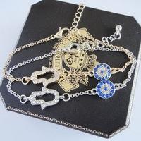 Fashion Jewelry Vintage Evil Eye Hamsa Hand Bracelet Classic Silver Gold New
