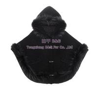 BG30544 Genunie Knitted Wool Fur Poncho With Hood Raccoon Dog Fur Trimming Women Fashion Hoody Free Shipping
