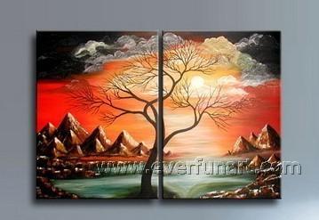Pintura da árvore do por do sol de lona ramos secos Grande Wall Art Imagem para Living Room Decor(China (Mainland))