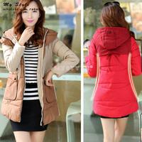Fashion 2014 New Slim Splice Parka Womens Casual Work Wear Cotton-Padded Winter Coat Plus Size Down Jacket For Women 2095