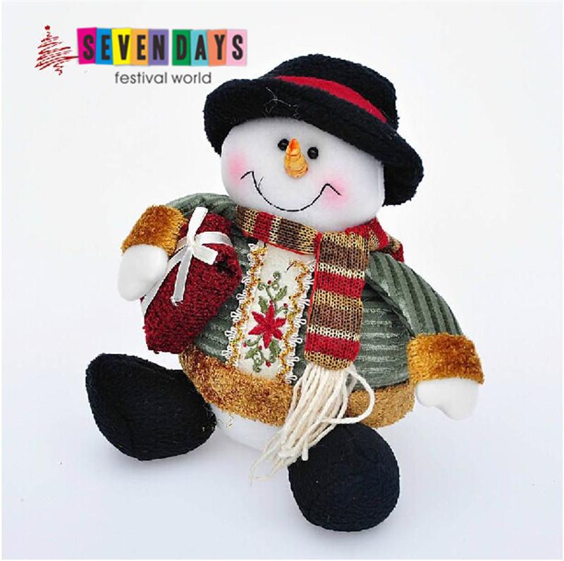 2015 Christmas Decoration Supplies Cute Cartoon Sitting Christmas Snowman Christmas Ornament New Year Decoration(China (Mainland))