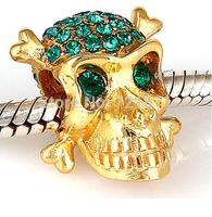 925 Sterling Silver skull 18K gold plating zircon European pendant Charm big hole beads Jewelry Fits Pandora Bracelet & Necklace