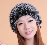 2014 Women New Rabbit Fur And Kinnted Inside Warm Autumn Winter Multi Color Hats Caps Skullies Beanies Gorros de Lana H1408