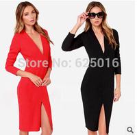 New 2014 Women sexy Bodycon Dress autumn  Deep V style vestidos dress women casual party dresses plus size prom dresses