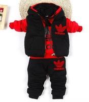Retail children winter outwear christmas boy clothing set boys clothing sets Sweater + vest + pants