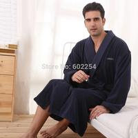 Hot Wholesale!! Free Shipping 100% Cotton Terry Towel Fabric Thicker Luxury Plus Size Bathrobe Men Robe Bath Robe Men Sleepwear