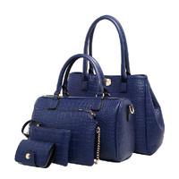 2015 Five-piece Crocodile Pattern Handbag Fashion Hot Leather Women Shoulder Bag Boston Messenger Bag Female Crossbody Bag