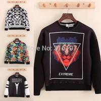 2014 winter fashion womens 3D sweater hip hop sport suit paris lion letter flower print hoodie autumn casual pullover sweatshirt