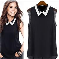 New 2014 Women's Chiffon Shirt Spring Summer Brand Casual Blouse Shirt Turn-down Collar Fashion Sleeveless Shirt 5