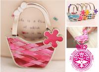 Printed Leather Bucket shape Women Handbag Holders Flower Purse Hangers Foldable Lovely Bow Handbag Hangers