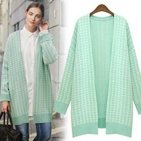 2014 new Autumn winter Houndstooth cardigan sweater loose sweater coat women's clothing