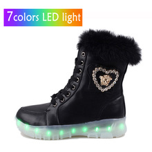 new 2014 high quality winter women snow boots warm rabbit fur leather boots fashion 7 colors LED light shoes sneakers D15-492(China (Mainland))