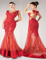 Hot Sale Sexy V Neck See Through Trumpet Mermaid Long Hot Red Evening Dress With Beading