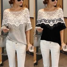 Plus Size Verão 2014 Casual Blusas Mulheres Moda Roupa Lace Preto Cinza Meninas Blusas novíssimo Vestido Mulher ROUPAS Shirts(China (Mainland))