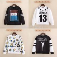Harajuku 2014 Autumn winter Letter ktz paris bandana print women sweatshirt hip hop Sport suit UNHOLY Sport Man hoody plus size