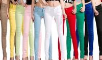 Brand 2014 women pants autumn spring fashion stretch jeans candy colors skinny trousers plus size pencil pant calca feminina K23