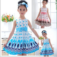 free shipping 2014 New Top Quality Kids Girls Princess Bow Belt dress Kids Trendy Birthday Summer Party Peacock print Dress 2-7Y