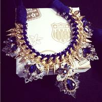 Amazing unique design Luxury statement jewelry handmade glass gems chain ribbon collar choker necklace metal spikes x494