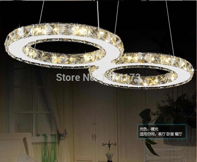 2 circle concept LED crystal hanging dining room pendant lights fixture lustre modern crystal living room bedroom crystal light(China (Mainland))