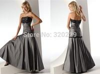 Cheap long stain prom dress 2014 Stock black lace floor-length evening  Dress size  4 6 8 10 12 14 16   LJ333