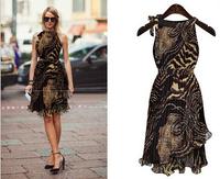 European 2015 Summer Casual Dress Sleeveless Off the Shoulder Irregular Sexy Leopard Chiffon Dress Women's Dress