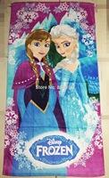 NEW DESIGN Frozen Elsa Anna Beach Towel Girl Pool 60 x120 CM bikini covers purple 6 pcs/lot