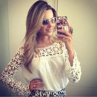 женщин шифона рубашку весна лето бренда Повседневная блузка рубашка o шея моды кружева без рукавов рубашки выдалбливают рубашка lj086db