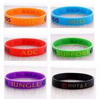[Min. 6$]Wolesale 2015 Fashion Charms Silicone DOTA2  6colors  Silicon Bracelet League of Legends Bangles