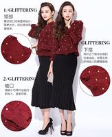 winter 2014 female fashion ruffle hem beading stereo knitted sweater