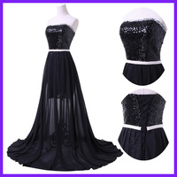 Free Shipping Chiffon + Sequins Sexy Black Strapless Dance Prom Gown Elegant Long Evening Dress 4408