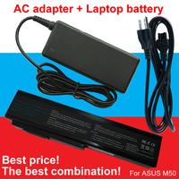 1pcs Adapter +1pcs laptop battery For Asus N61 N61J N61D N61V N61JV N53 A32 M50 M50s N53S N53SV A32-M50 A32-N61 A32-X64 A33-M50