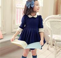 2014 winter new Korean girls dress pleated skirt princess doll collar fifth sleeve England stylexjh16