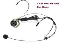 FREE SHIPPING Black color Headset Dual ear hook Headworn Microphone For Wireless (mini xlr 4pin TA4F)