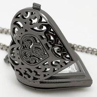 Black Pierced Heart Shape Pocket Watch Necklace Pendant Women Gift P76