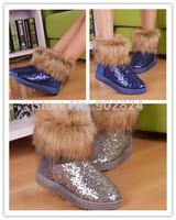 1pr Womens Ladies Winter Fur Trim Sequins Shiny Metallic Snow Boots Shoes 2 color BO238-239 fashion