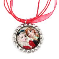 20pcs Frozen Christmas Necklace, Princess Elsa and anna Necklace, Christmas Red Ribbon Bottle Cap Necklace