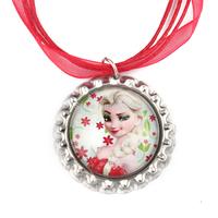 20pcs Frozen Christmas Necklace,  Elsa Necklace, Christmas Red Ribbon Bottle Cap Necklace