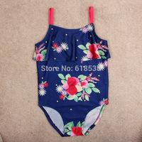 2014 New Explosion models Blue / Purple Girls One-piece swimming Flower one picees swimwear Cotton Sling swimsuit girls 3-8Y