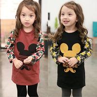2014 Winter new princess minne mouse baby girls suit cartoon print dress kids dresses free shipping 1pcs retail