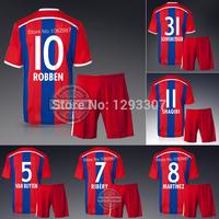 2014 15 Embroidery Home Robben Ribery Lewandowski Soccer Kit Set of Jersey & kits Men Sports Outfits Football Shirt Uniforms