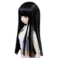 "[wamami]T02-11# Black Neat Bang Straight Long Wig 1/6 SD AOD DOD BJD Doll 6""-7"""