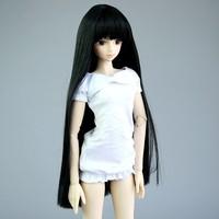"[wamami]T02-11# Black Neat Bang Straight Long Wig 1/4 MSD AOD DOD BJD Doll 7""-8"""