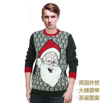 Мужские рождество свитер 2014 зима новинка дед мороз украшенные перемычка англия стиль бесплатная доставка