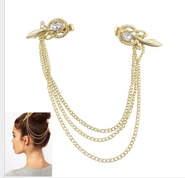 New Fashion Metal Rhinestone Gold Feather Head Chain Headband Head Clip Hair Accessories GNT0045(China (Mainland))