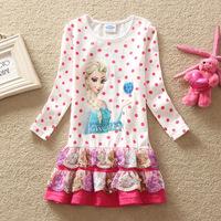 New 2014 Children Spring Frozen Dress Girl Frozen Elsa's and Anna's Girls Dresses Dots Autumn Children Lace Cartoon Clothes