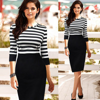 Hot Selling O Neck with 3/4 Sleeves Elegant Sheath Striped Casual Dresses 2014 Knee Length
